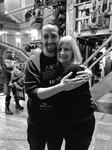 Lin-Manuel Miranda hugging his kindergarten teach Amy Liebov