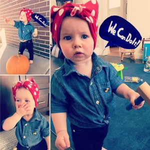 Principal Steph Wilson Itelman's daughter as Rosie the Riveter