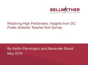"cover of new Bellwether analysis, ""Retaining High Performers: Insights from DC Public Schools' Teacher Exit Survey"""