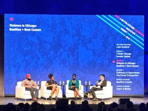 """""""Violence in Chicago: Realities + Root Causes"""" panel brought young civic leaders and Cook County State's Attorney @SAKimFoxx to the stage to share personal stories and real solutions. #ABetterChicago – at Venue SIX10"""