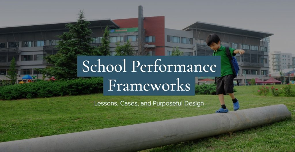 "boy walking and balancing on a log with the header for the site ""School Performance Frameworks"" across"