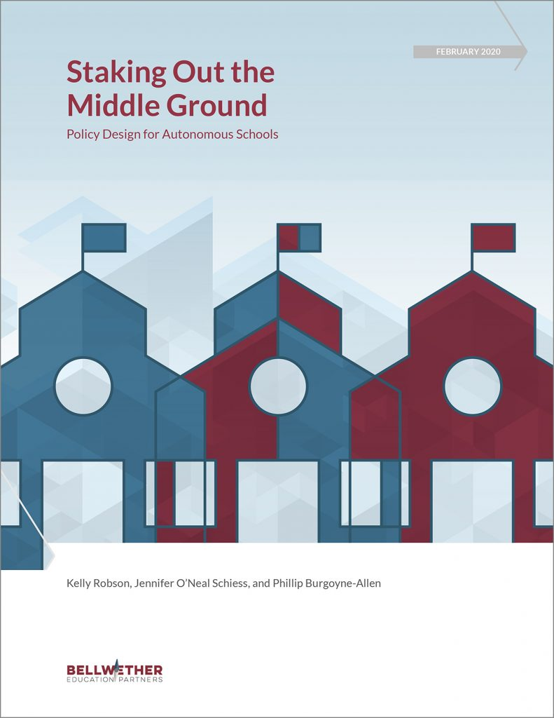 "cover of Bellwether report ""Staking out the Middle Ground: Policy Design for Autonomous Schools from Feb 2020, features graphic of three school buildings with different but overlapping colors"