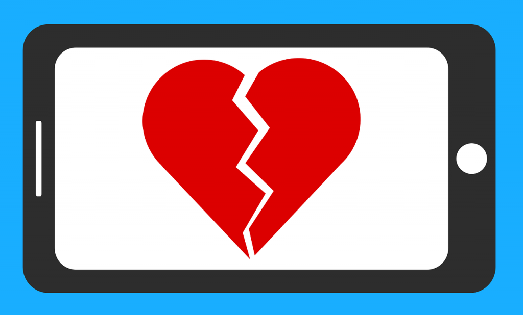 graphic of a broken heart on a smart phone screen