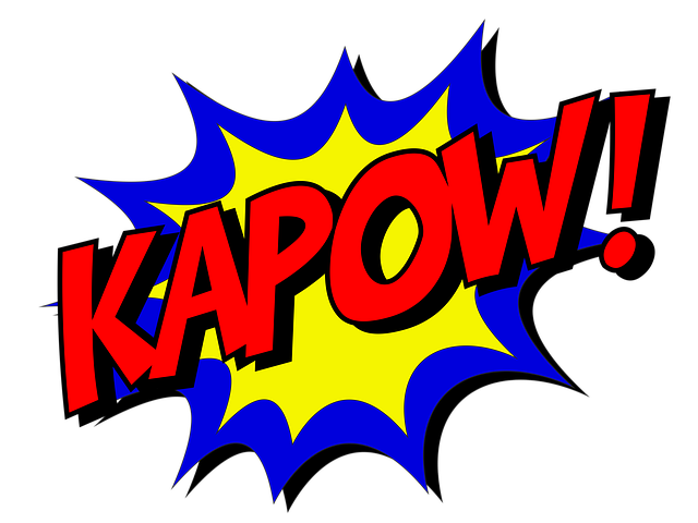 "red letters that say ""KAPOW"" coming out of a blue and yellow comic-style explosion"