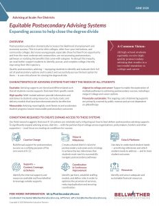 "Cover of ""Equitable Postsecondary Advising Systems Expanding access to help close the degree divide"" tip sheet for districts, by Bellwether Education Partners June 2020"